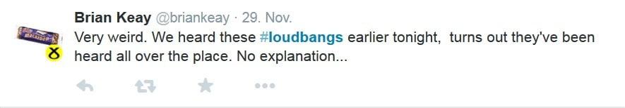 Sehr seltsam. Wir haben diese #loudbangs heute Abend gehört, scheint als wären die überall. Keine Erklärung…
