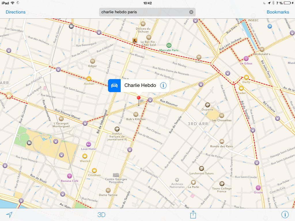 Charlie Hebdo Location Map