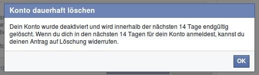 Facebook Konto dauerhaft löschen Captcha