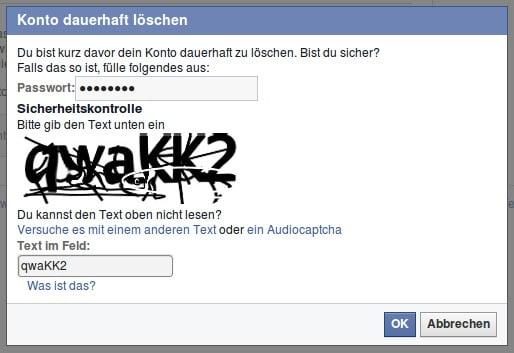 Facebook Konto dauerhaft löschen