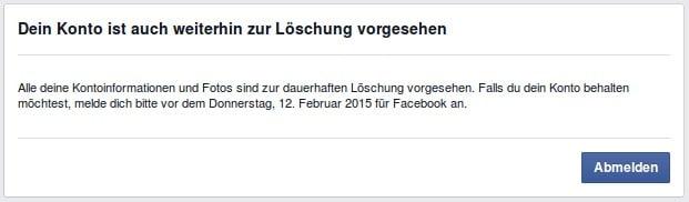 Facebook Konto weiterhin zur Löschung vorgesehen
