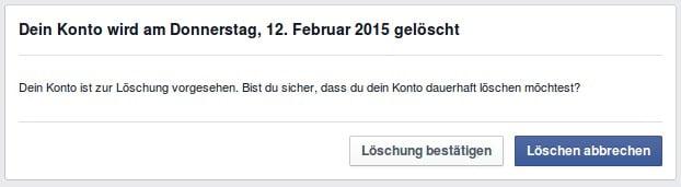 Facebook Konto zur Löschung vorgesehen