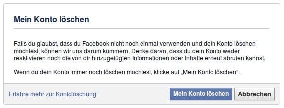Facebook Mein Konto löschen