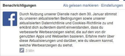 Mitteilung Facebook