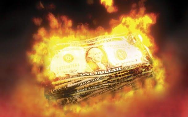 burning dollar crash