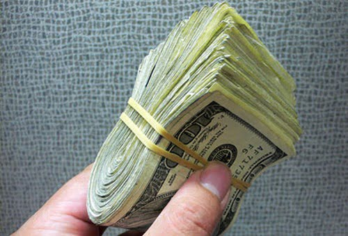 bundle of cash dollars