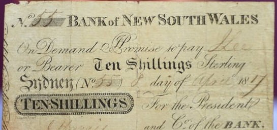 bank of new south wales historic bank note