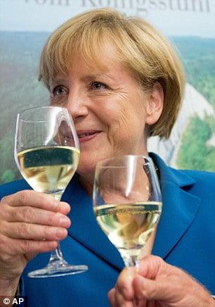 Merkel und der Weißwein