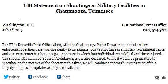 Chattanooga-Shooting FBI statement