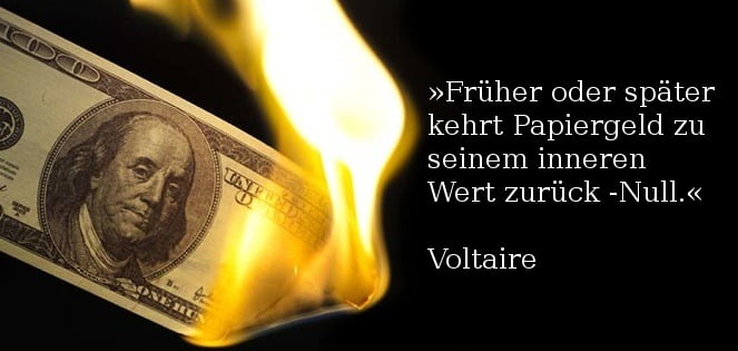 Voltaire geld papier wert