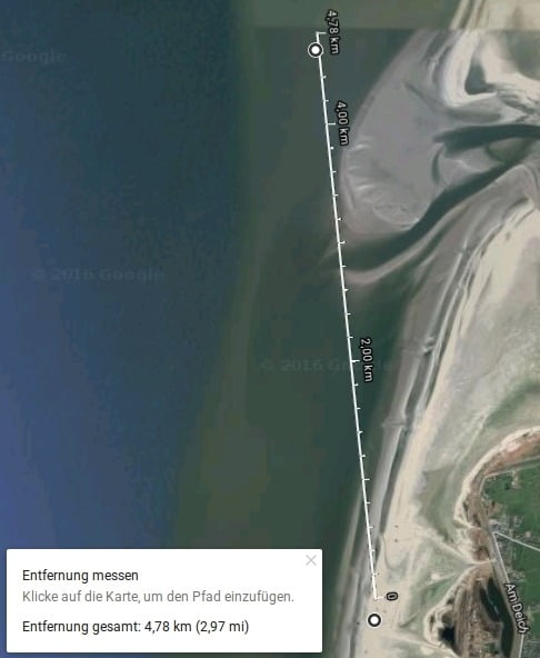 Google Earth St. Peter-Ording 4,78 km nach Norden