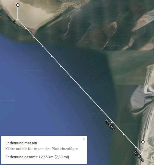 P1000774 Google Earth Entfernung St.Peter-Ording Strand - Bake Süderoogsand