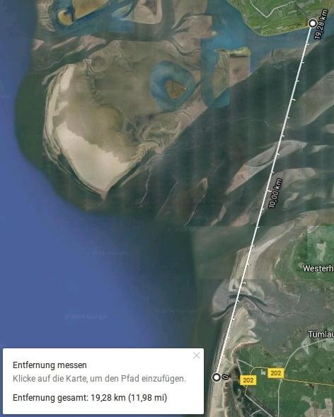 P1000816 Google Earth Entfernung St.Peter-Ording Strand - Leuchtturm Pellworm